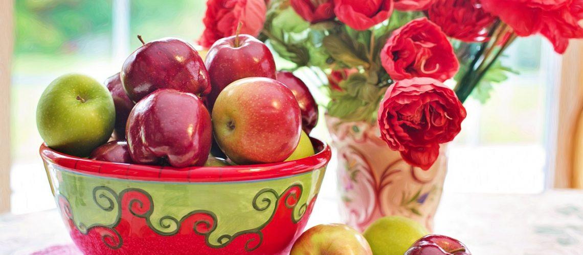 Appels met bloemen